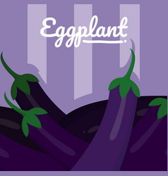 Organic eggplant cartoon vector