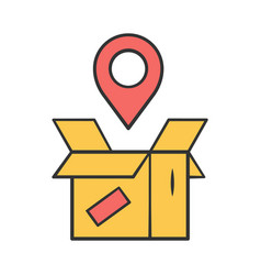 Parcel tracking yellow color icon package vector