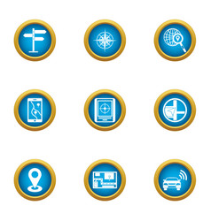 Pave the way icons set flat style vector