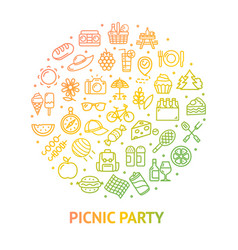 picnic party banner round design template thin vector image