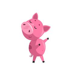 Pink funny skeptical cartoon baby piglet cute vector