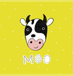 poster with hand drawn funny cow vector image