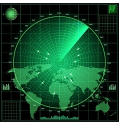 Radar screen with planes vector image vector image