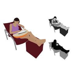 realistic flat colored of a young woman studying vector image