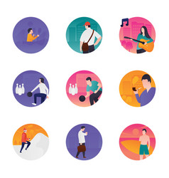 recreational activities flat icons vector image