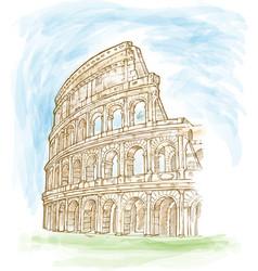 Roman colosseum watercolor hand draw vector