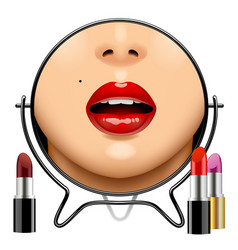 round mirror with womans glossy lips reflection vector image