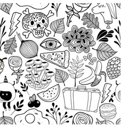 seamless pattern with cartoon characters in black vector image