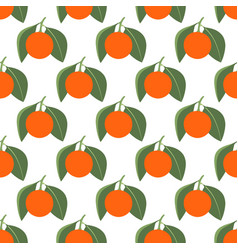 Seamless pattern with tangerines and leaves on vector