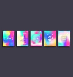 set blurred color gradient posters fluid vector image