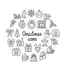 set christmas icons on white background vector image