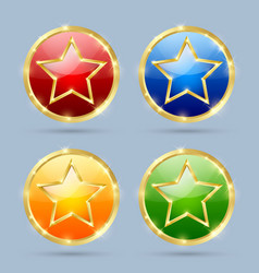 set glossy golden plaques with star isolated vector image