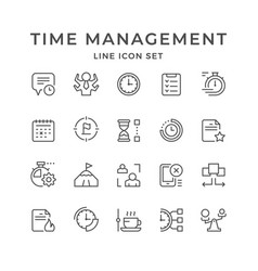 set line icons time management vector image