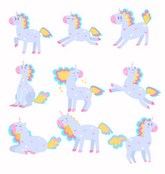 Set of cute unicorns playing running with a vector