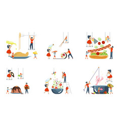 Set of oversize dish and tiny people vector