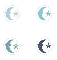 Set of paper stickers on white background moon vector
