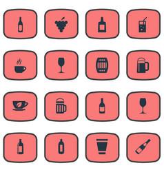 Set simple beverage icons elements glass pub vector
