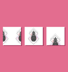 set square cards with mystical a pineapple vector image