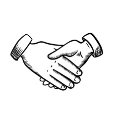 Sketch of business partnership handshake vector