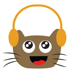 smiling brown cat with headphones on white vector image
