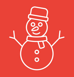 snowman line icon new year and christmas vector image