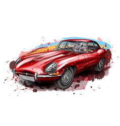Sports retro car jaguar e-type red vector