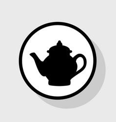 tea maker sign flat black icon in white vector image