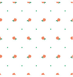 Tiny hand drawn coral rose and dot seamless vector