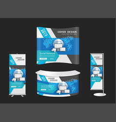 trade show booth mock up exhibition stand vector image