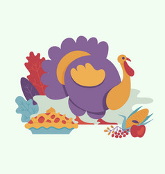 turkey bird flat isolated vector image