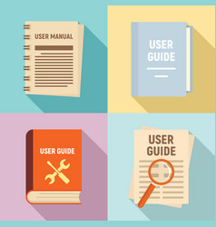 user guide icons set flat style vector image