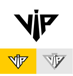 vip service logo abbreviation neck tie as letter vector image
