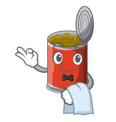 Waiter canned food on the table cartoon vector