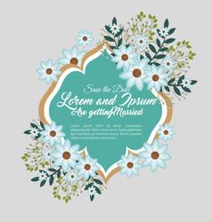 Wedding invitation floral frame vector