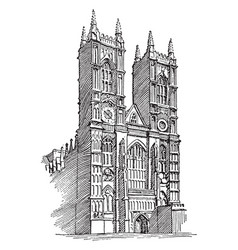 Westminster abbey or gothic architecture vintage vector