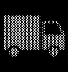 white dot shipment van icon vector image