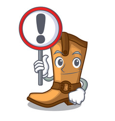 With sign cowboy boots in the shape cartoon vector