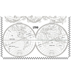 World globe map with nymphs white vector image