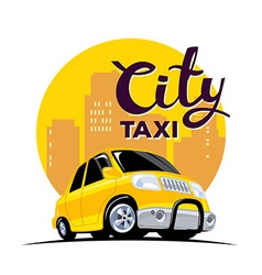 yellow taxi in big city with header on wh vector image