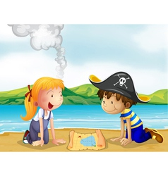 A girl and a boy studying the map vector image vector image