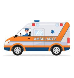 cartoon van medical car with driver man vector image vector image