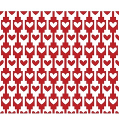 red seamless background pattern with hearts vector image