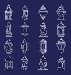 arabic lantern line art set vector image
