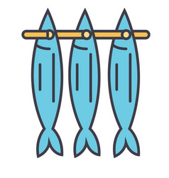 fish drying flat line concept vector image vector image