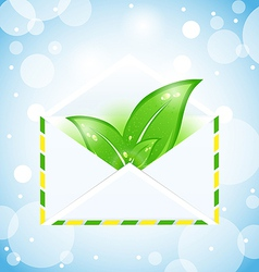 Letter with green leaves vector image