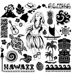 Retro set of Hawaiian icons and symbols vector image