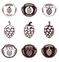 set of brewery emblems beer hope design elements vector image vector image