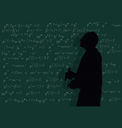 teacher writes formulas at the board vector image