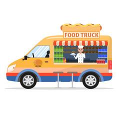 cartoon food truck with male salesman vector image vector image