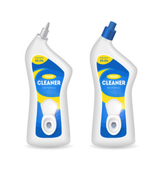 realistic detailed 3d bottles with toilet cleaner vector image